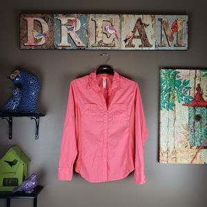 LUCY BUTTON COLLAR CORAL LONG SLEEVE SHIRT med.